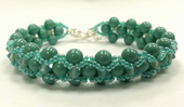 Cross-weave, Embellished Beadwork Bracelet Jewellery Making Kit with SWAROVSKI® ELEMENTS Jade Pearls